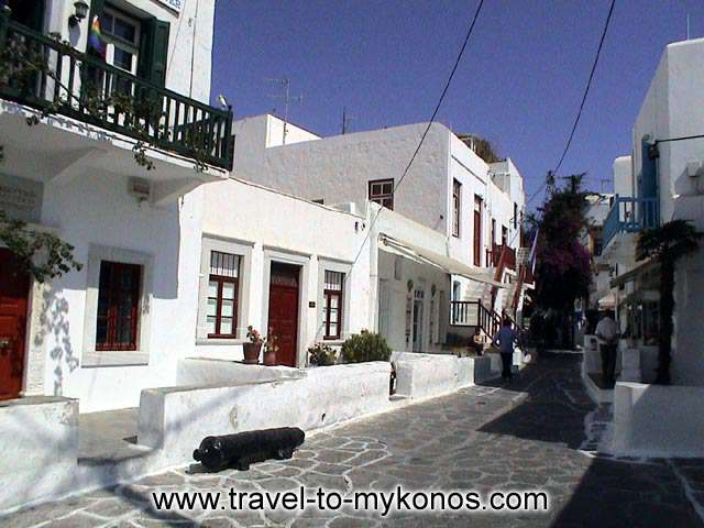 MYKONOS CHORA - An old neighbourhood and the traditional architecture houses.
