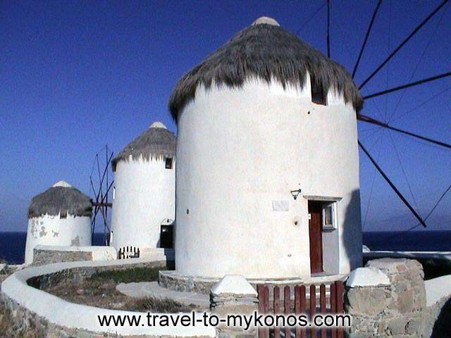 MYKONOS WINDMILLS - During the 19th century the milling of flour constituted the basic source of income of Mykonos. Then the windmills knew big acme.