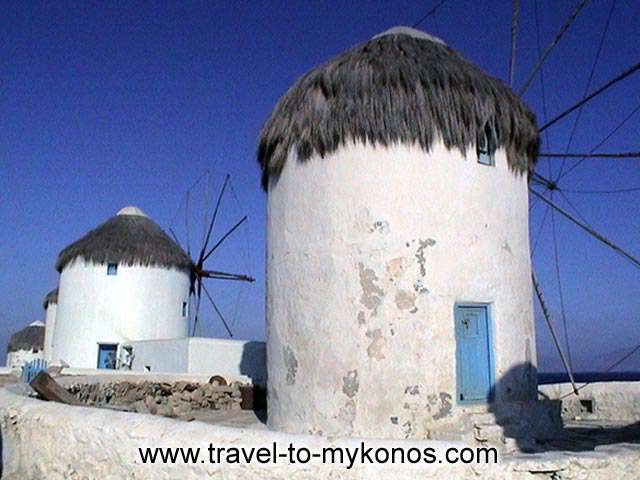MYKONOS WINDMILLS - Some of the windmills are maintained in good situation, while some other have the marks of time.