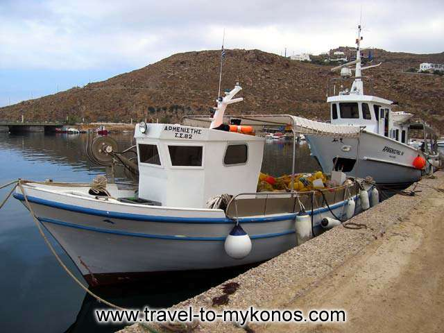 ARMENISTIS - Two fishing boats in the small fishing port of Tourlos