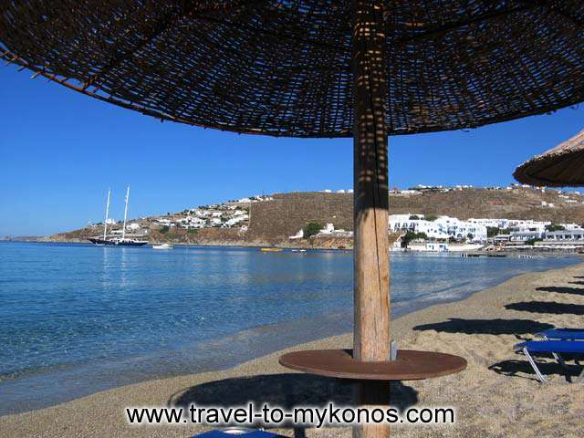 UNDER AN UMBRELLA - View of Platis Gialos beach from under an umbrella