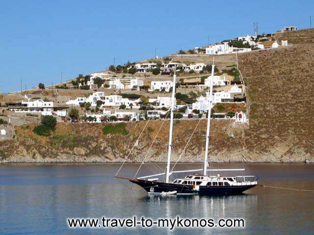 SAIL BOAT - A sailboat in Platis Gialos bay in Mykonos
