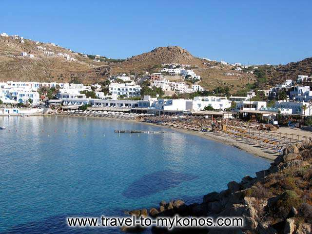 VIEW OF THE BEACH - View of Platis Gialos from a spot on the pathway to Agia Anna on a wonderful calm June morning.