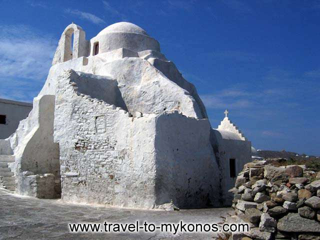 CLOSEUP - A photo of Paraportiane church in Chora, one of Mykonos symbols