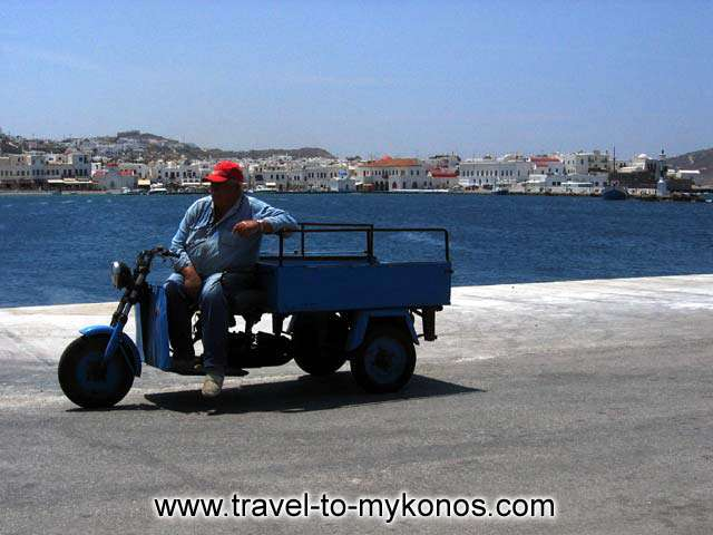 WAITING - These are the only means of transportation for goods inside Chora in Mykonos