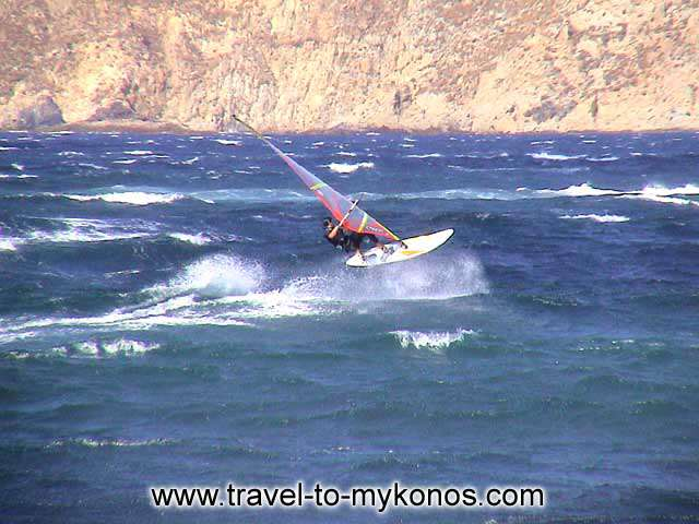 Ftelia: the paradise of surfers... MYKONOS PHOTO GALLERY - WINDSURFING