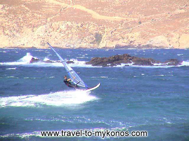 WINDSURFING - The beach of Ftelia is found to the north side of the island.