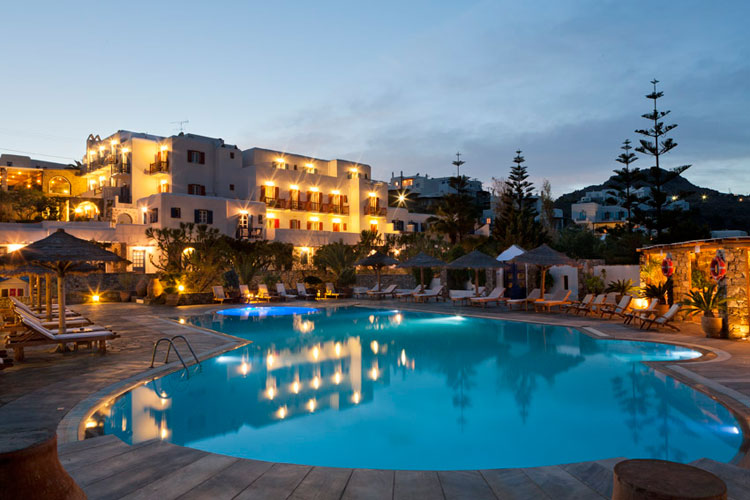 The front view of Kamari hotel in Platis Gialos Mykonos CLICK TO ENLARGE
