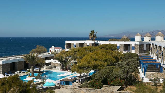 Mykonos Theoxenia hotel, an oasis of serenity and just a stone throw away from the vigorous and glamorous nightlife of Mykonos. Situated by the picturesque Little Venice and the narrow pebble-stoned shopping streets of the town of Kato Mili. CLICK TO ENLARGE