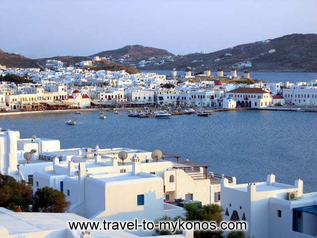 The hotel offers the most beautiful view of the town of Mykonos, is a relaxing place, beside the world top cosmopolitan holidays center. CLICK TO ENLARGE